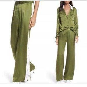 Green silk wide leg trousers from Equipment.